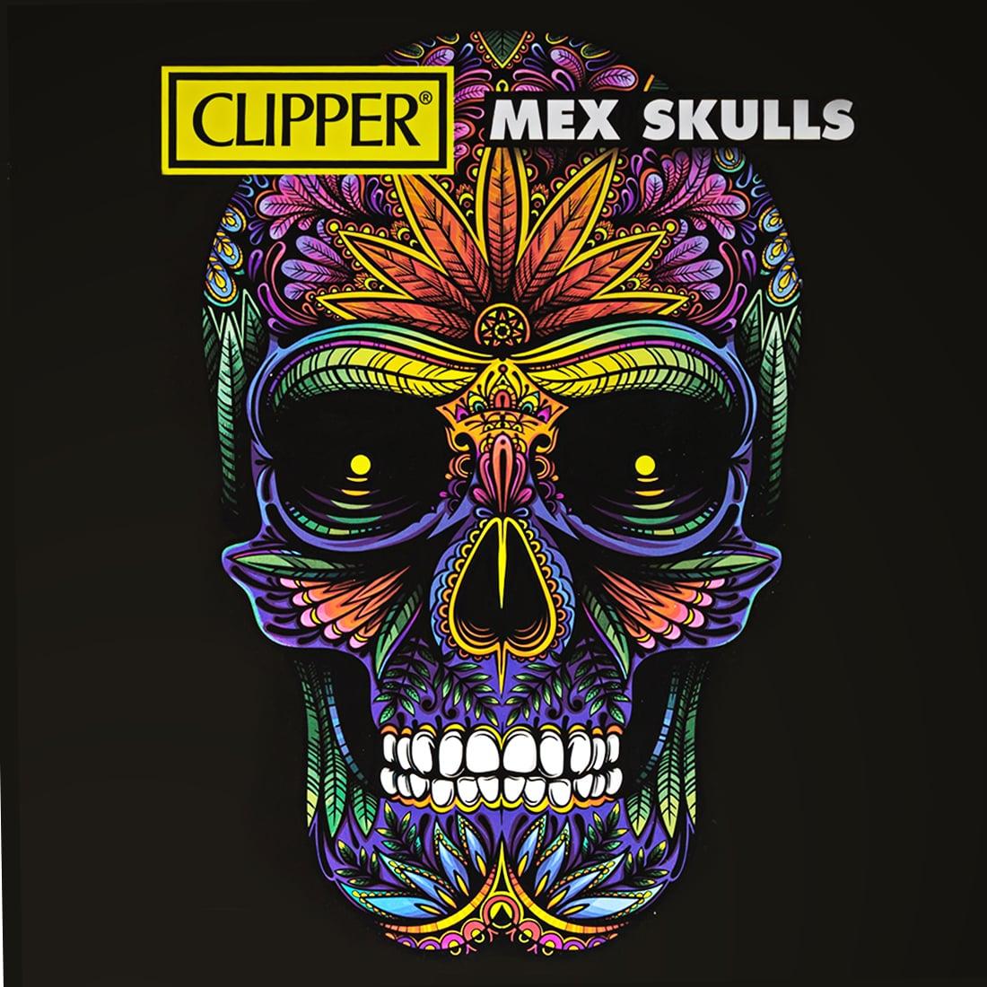 Photo #3 de Briquet Clipper Metal Mex Skull Silver