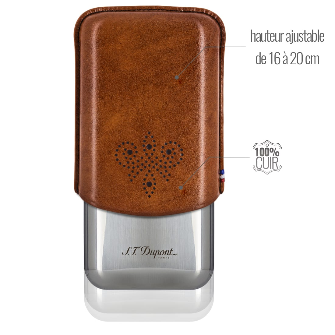 Photo #1 de Etui Cigare S.T. Dupont 3 Cigares Derby Marron