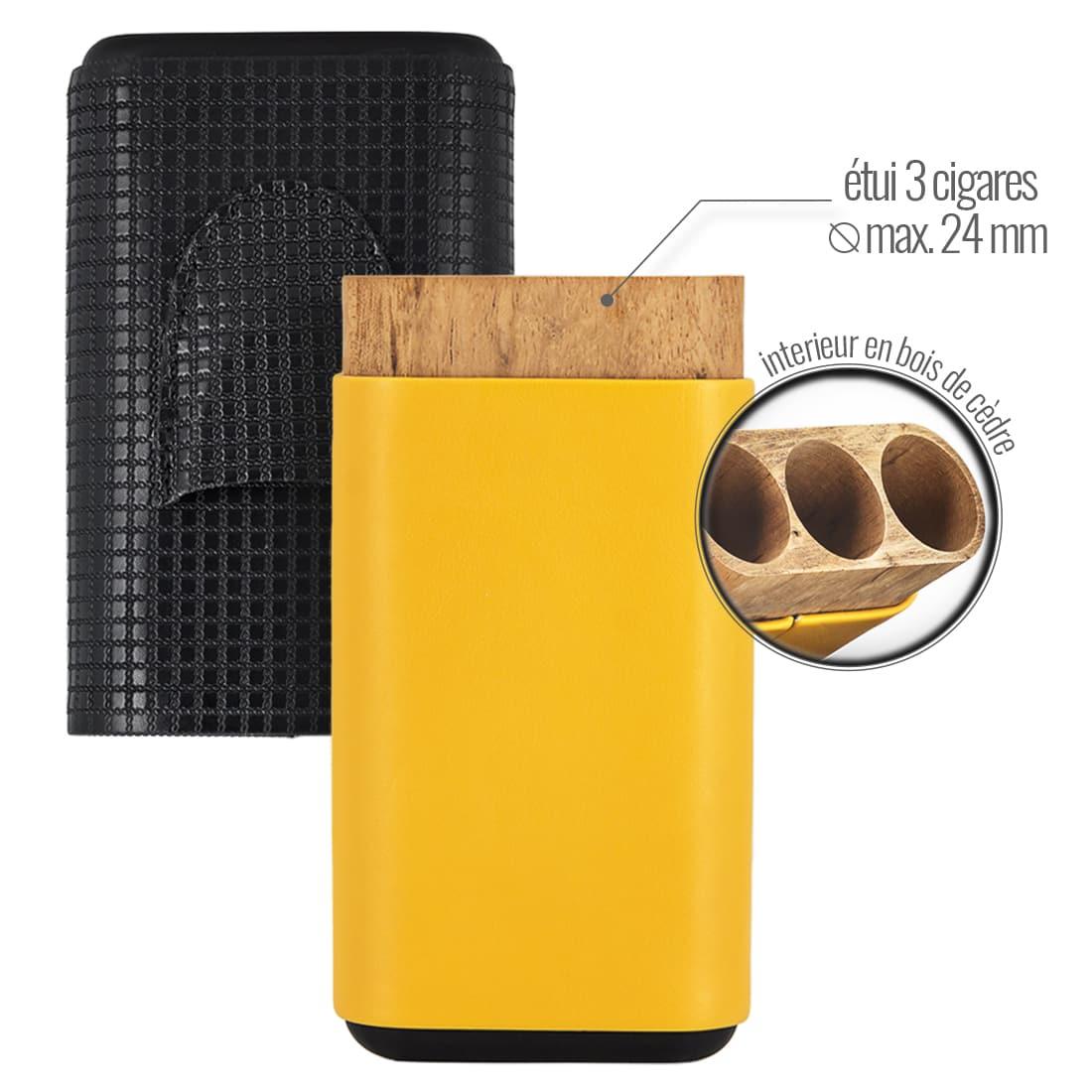 Photo #1 de Etui Rigide 3 Cigares et Coupe Cigare
