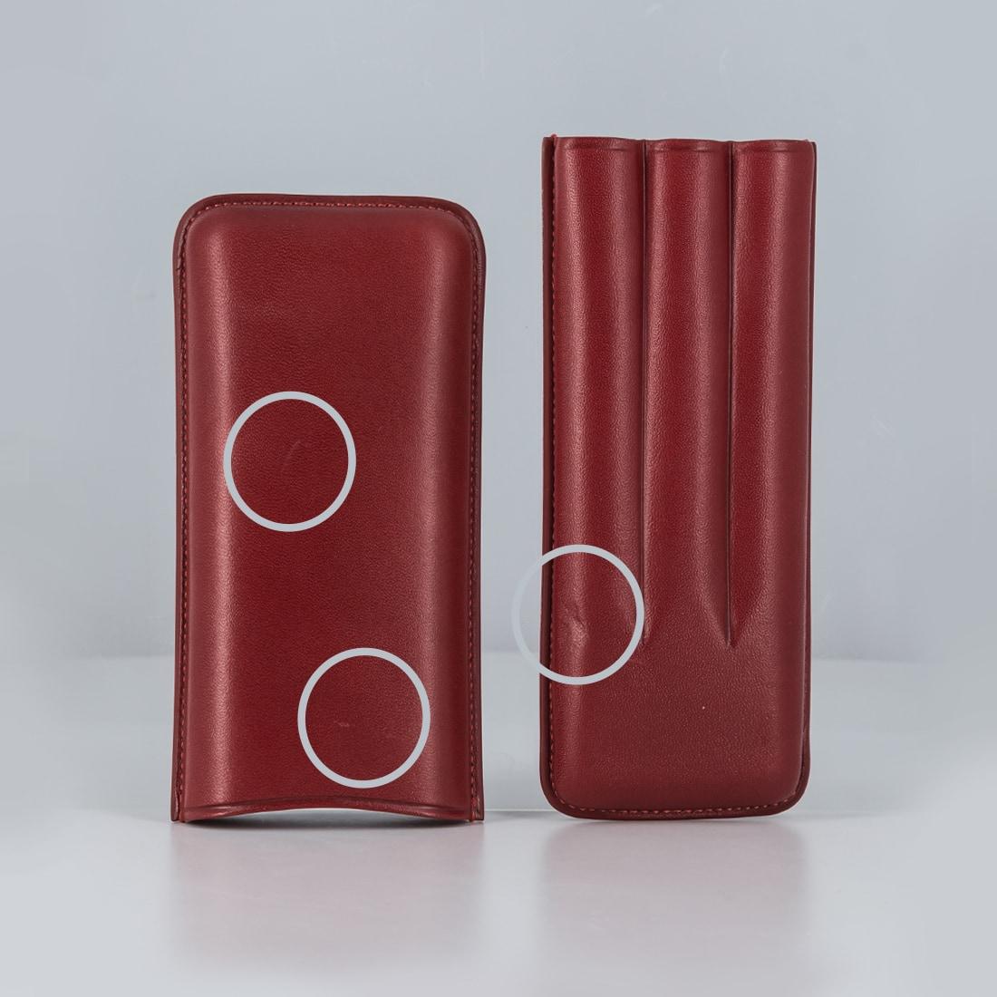 Photo #1 de La Bonne Affaire - Etui 3 cigares Cuir Rouge