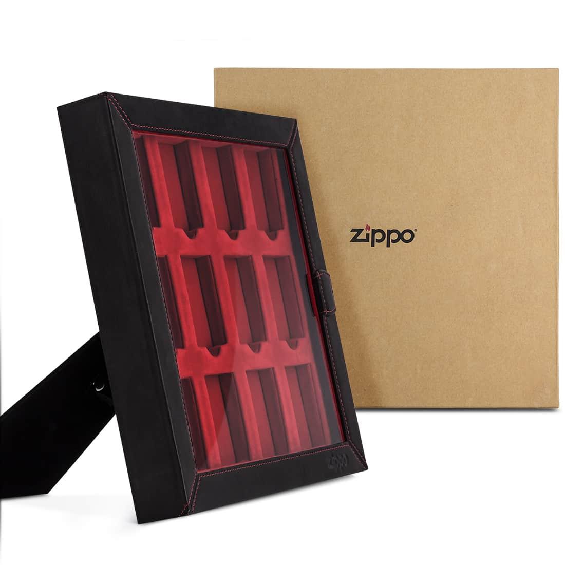 Photo #2 de Armoire de présentation Zippo Cuir Noir