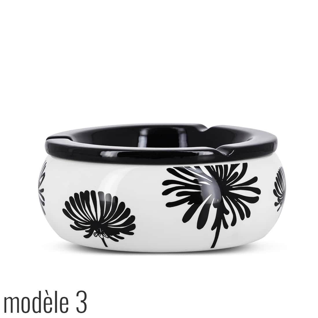 Photo #6 de Cendrier Marocain Décor Floral Noir et Blanc