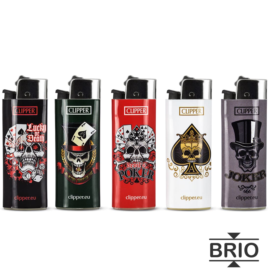 Photo #2 de Briquet Clipper Brio Micro Skull Cards x 50