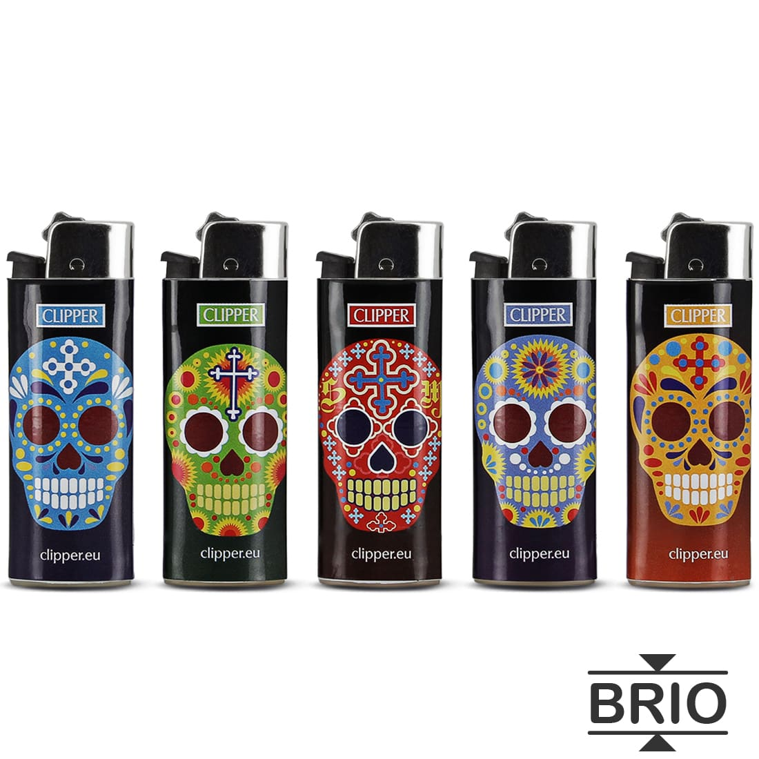 Photo #1 de Briquet Clipper Brio Micro Tête de Mort Calaveras x 5