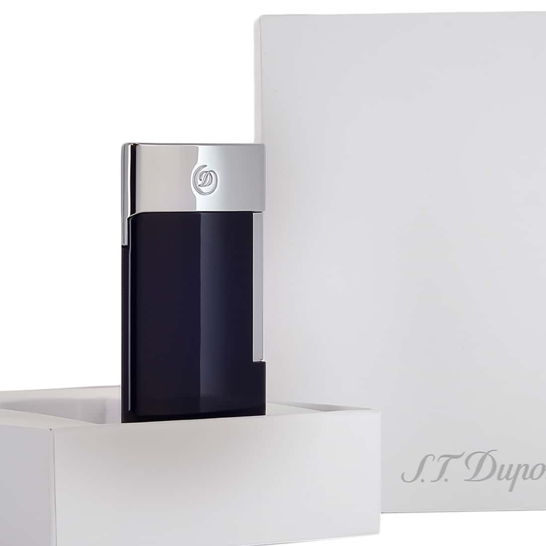 Photo #3 de Briquet S.T. Dupont E-Slim Bleu & Chromé