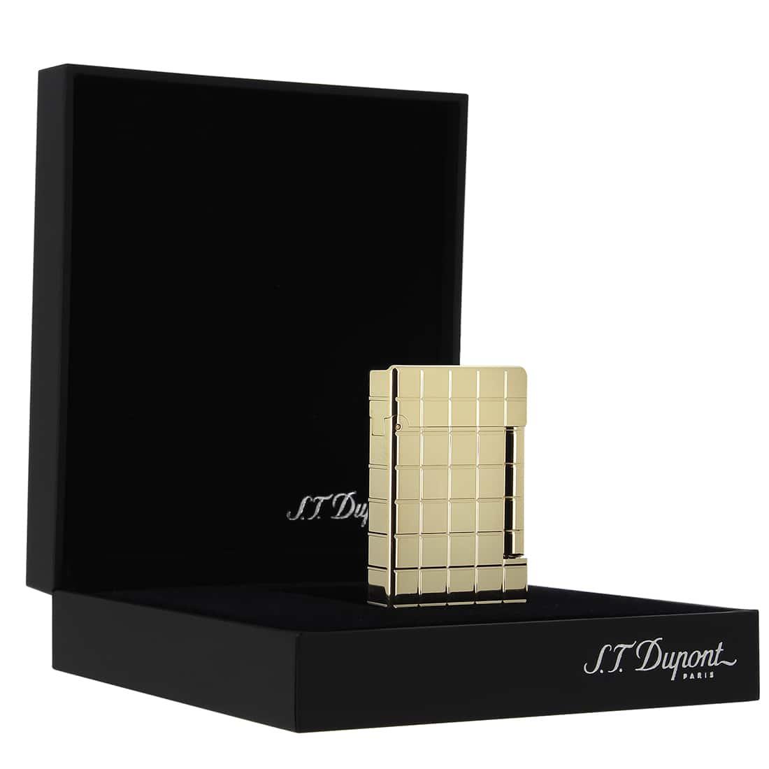 Photo #4 de Briquet S.T. Dupont Initial Quadrille Bronze doré