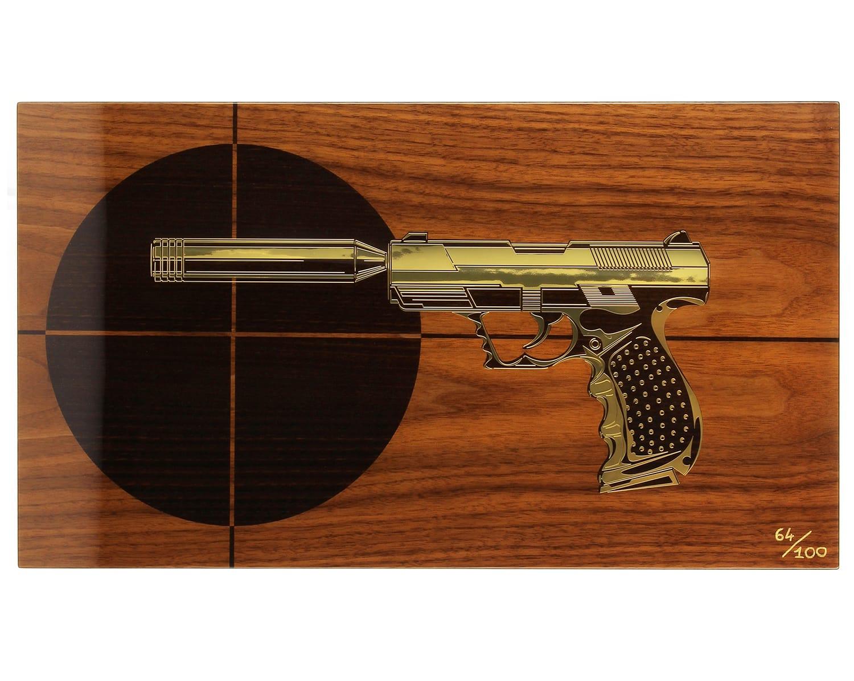 Photo #1 de Cave a cigare Elie Bleu Pistolet cible 110 cigares Edition limitée