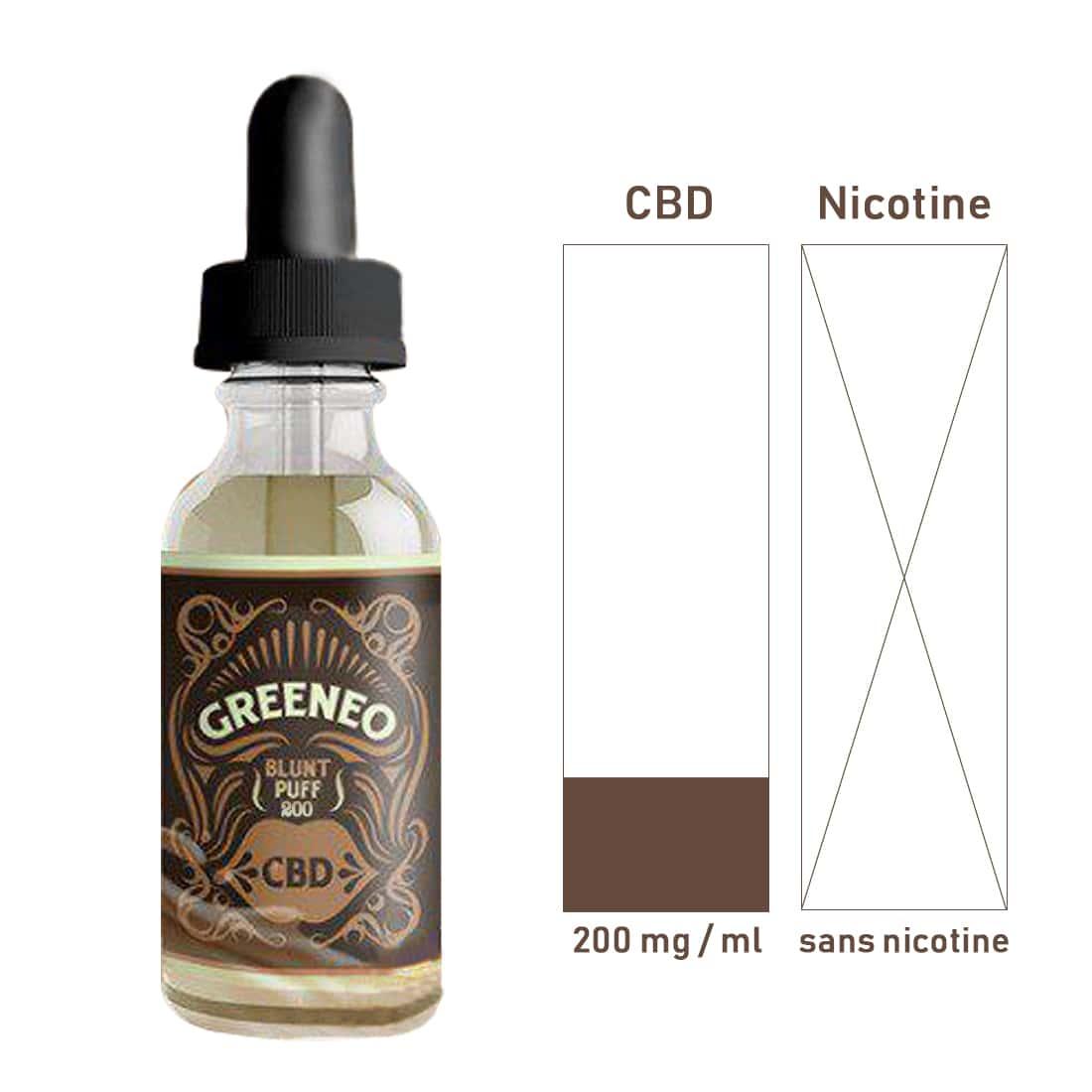 Photo #1 de CBD E liquide Greeneo Blunt Puff 200mg