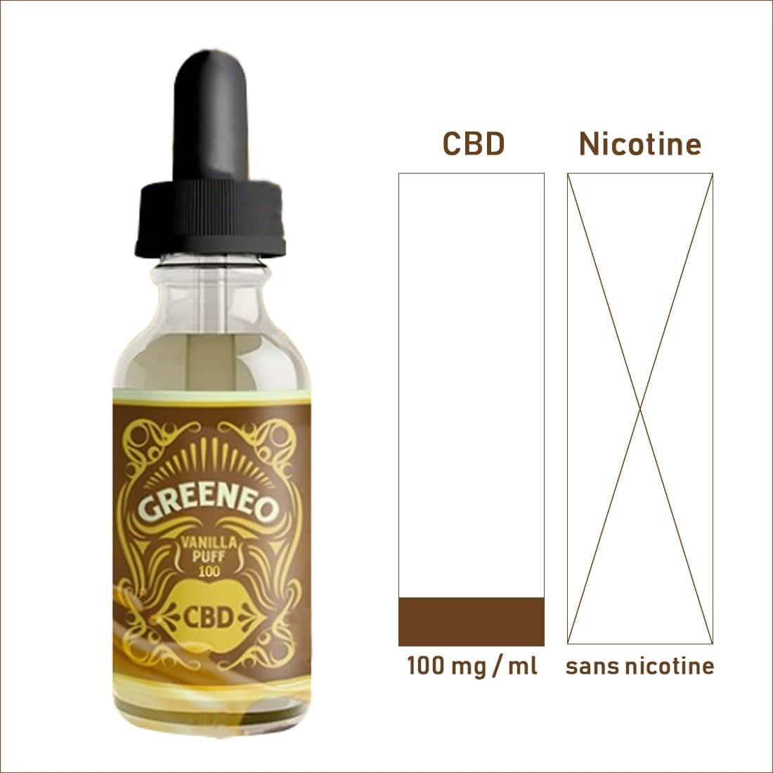 Photo #1 de CBD E liquide Greeneo Vanilla Puff 100mg