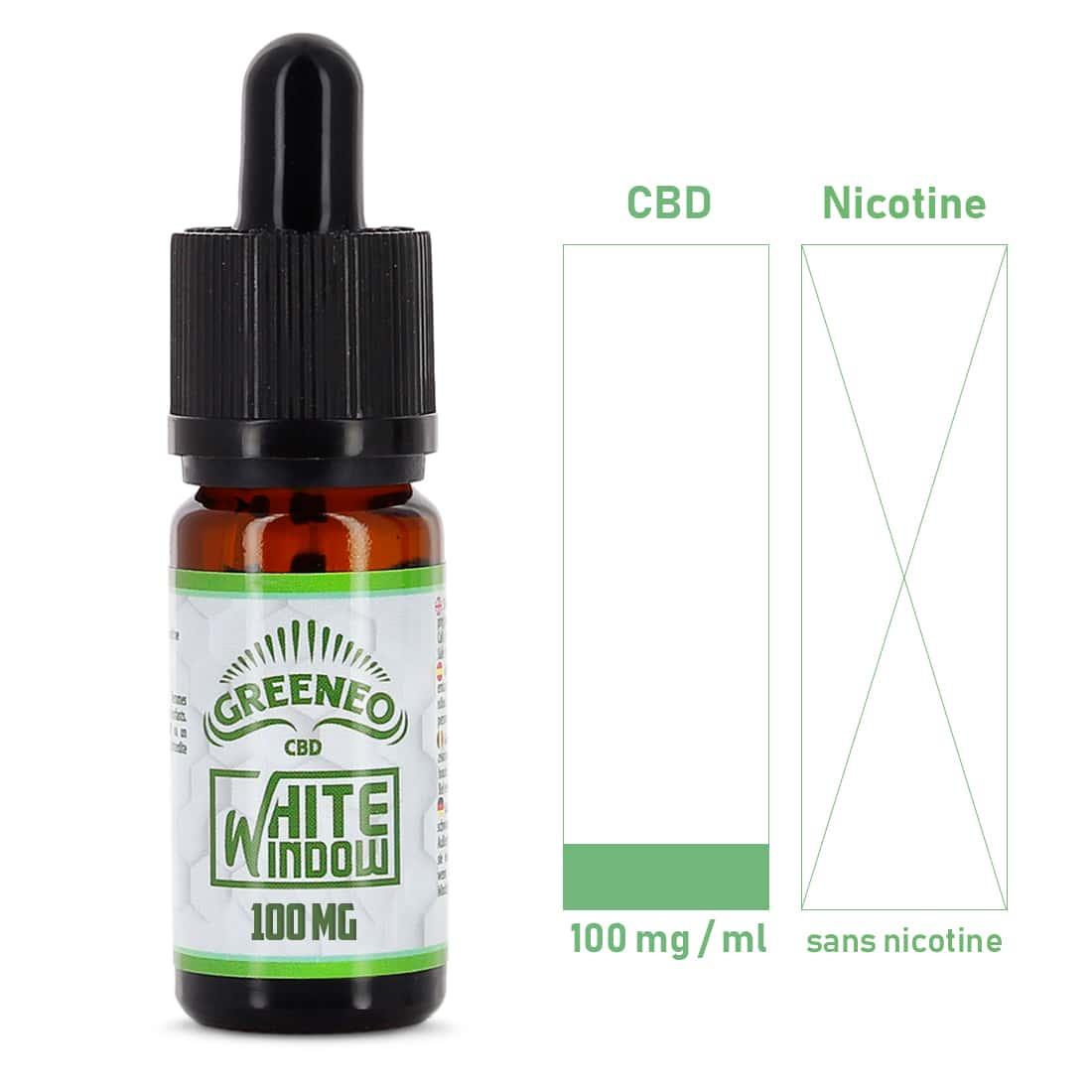 Photo #1 de CBD E liquide Greeneo White Window 100mg