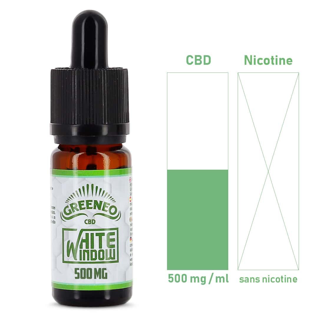 Photo #1 de CBD E liquide Greeneo White Window 500mg