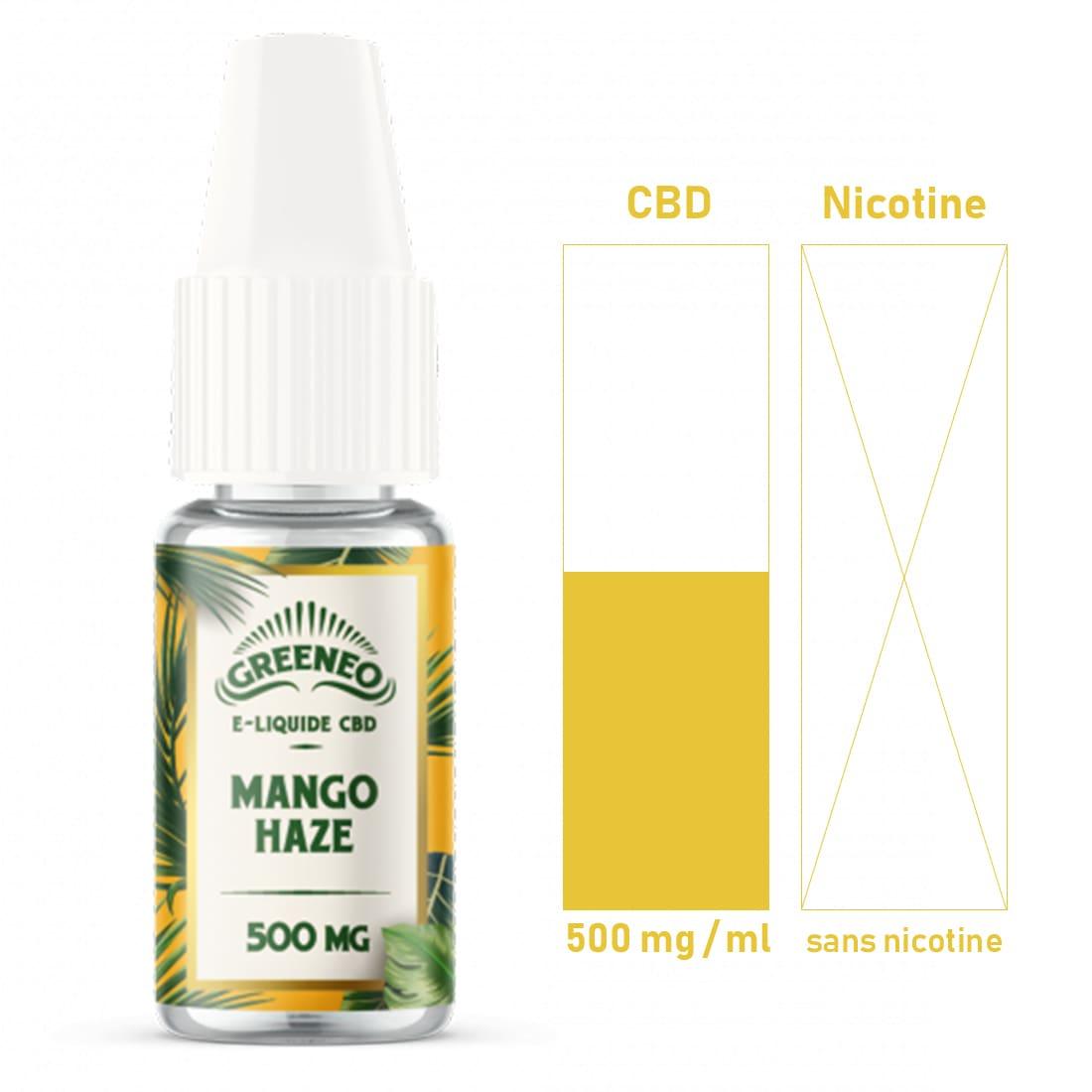 Photo #1 de CBD E liquide Greeneo Mango Haze 500mg