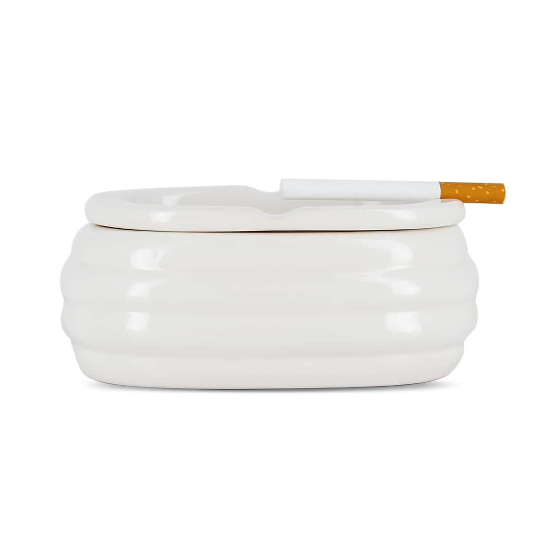 Photo #2 de Cendrier Céramique Ovale Blanc