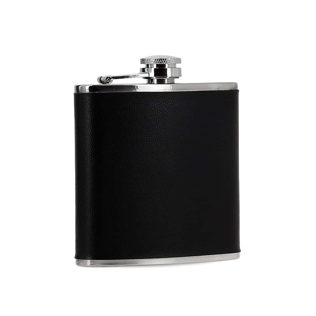 Photo #1 de Coffret Flasque Alcool Etui Cigarette Simili Cuir Noir