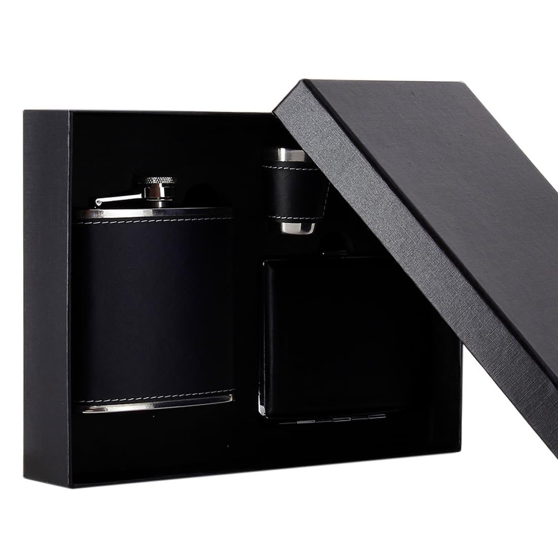 Photo #4 de Coffret Flasque Alcool Etui Cigarette Simili Cuir Noir