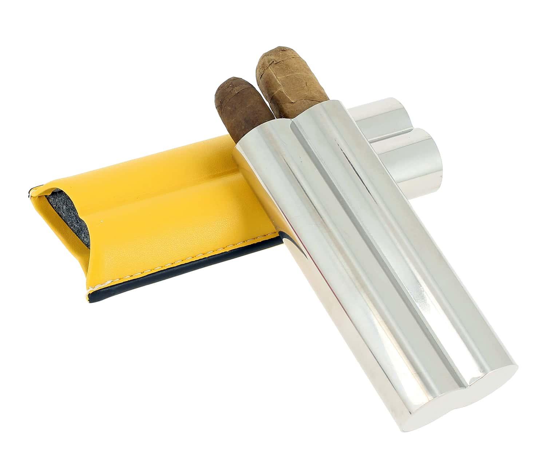 Photo #1 de Etui 2 cigares Acier Poli Cuir Jaune