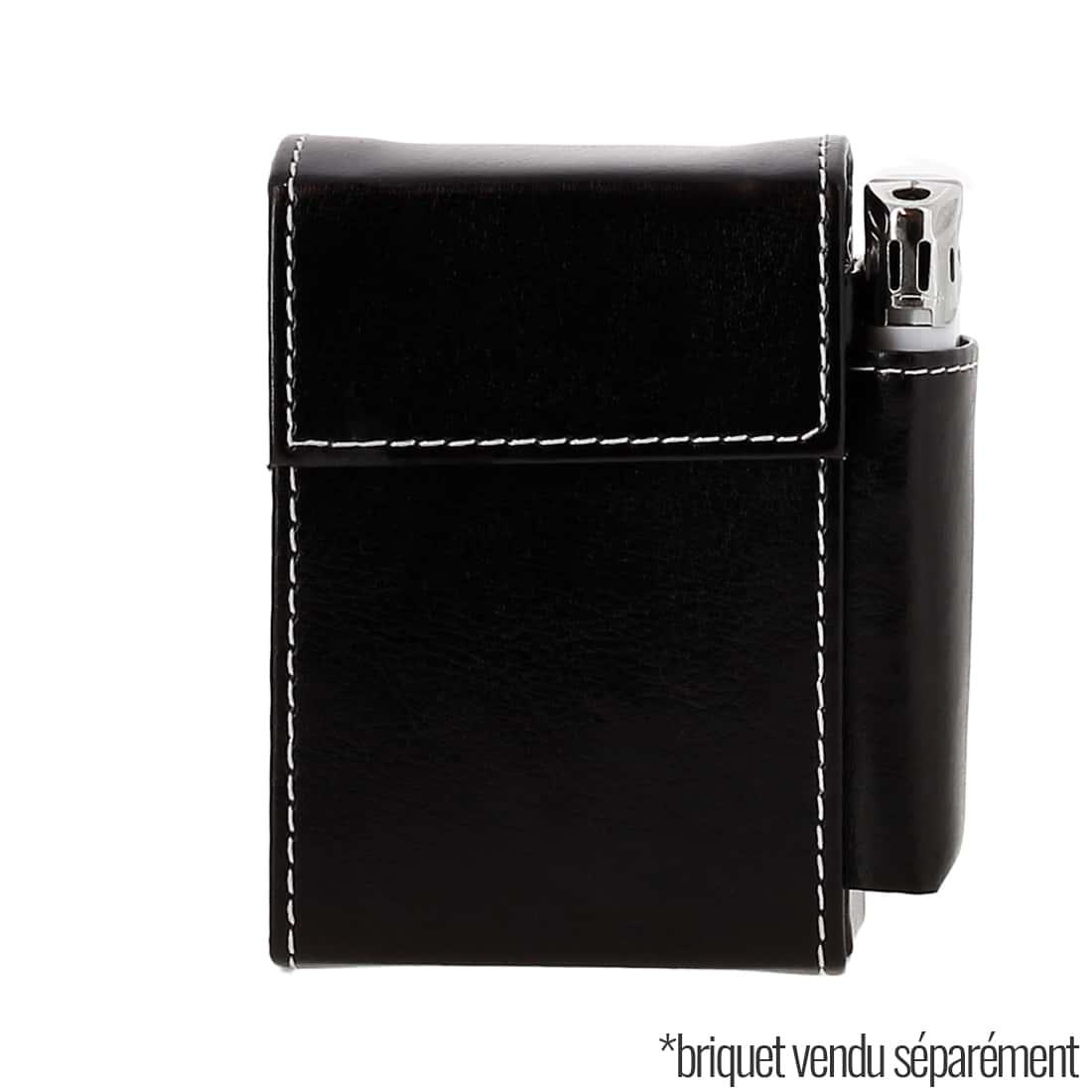Photo #1 de Etui paquet cigarette et briquet simili cuir Noir