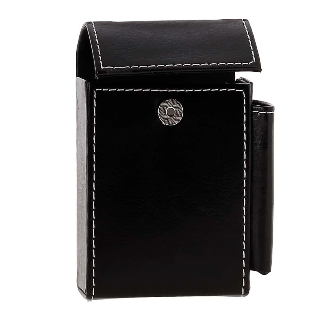 Photo #3 de Etui paquet cigarette et briquet simili cuir Noir