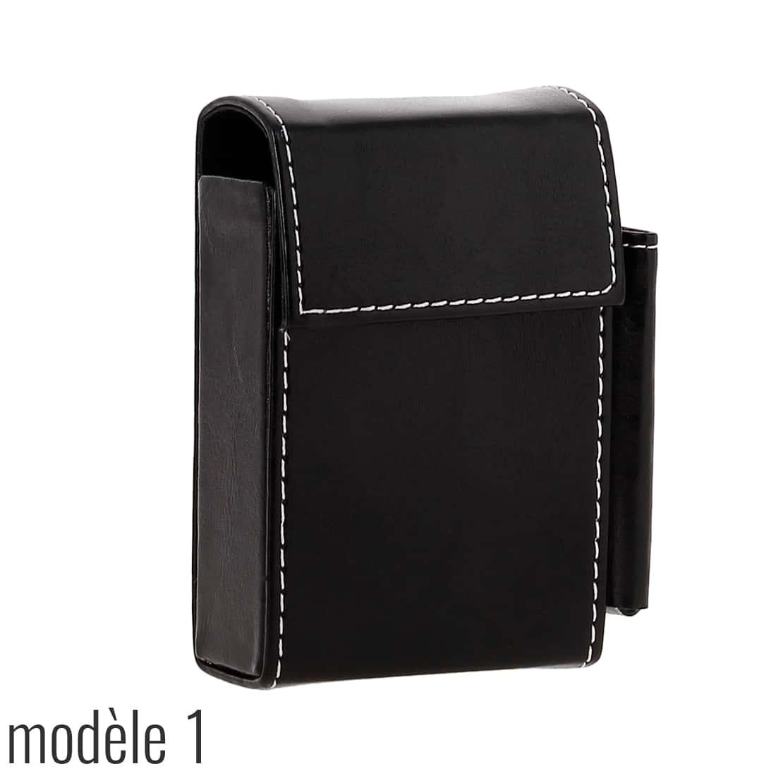 Photo #4 de Etui paquet cigarette et briquet simili cuir Noir