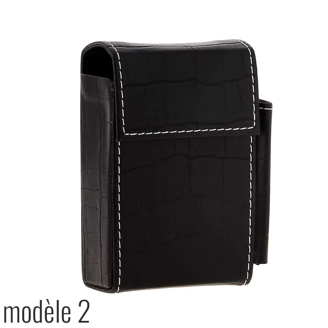Photo #5 de Etui paquet cigarette et briquet simili cuir Noir