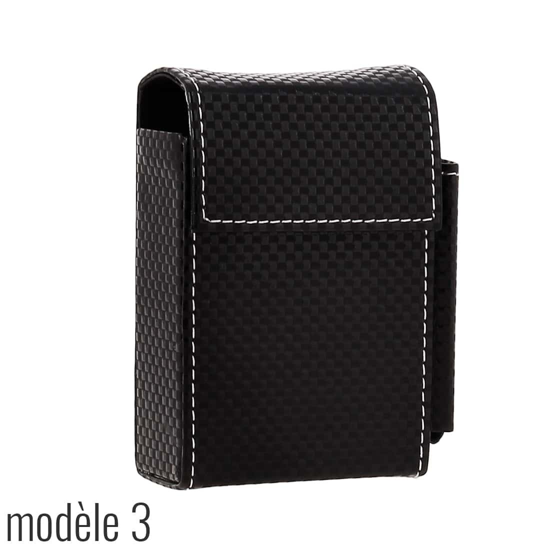 Photo #6 de Etui paquet cigarette et briquet simili cuir Noir