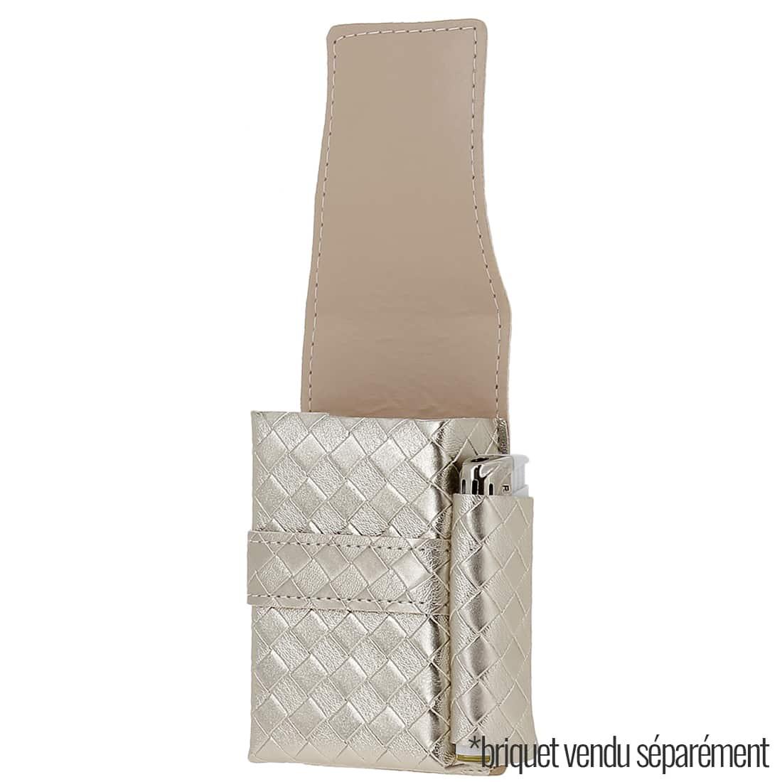 Photo #1 de Etui paquet cigarette et briquet simili cuir Tresses