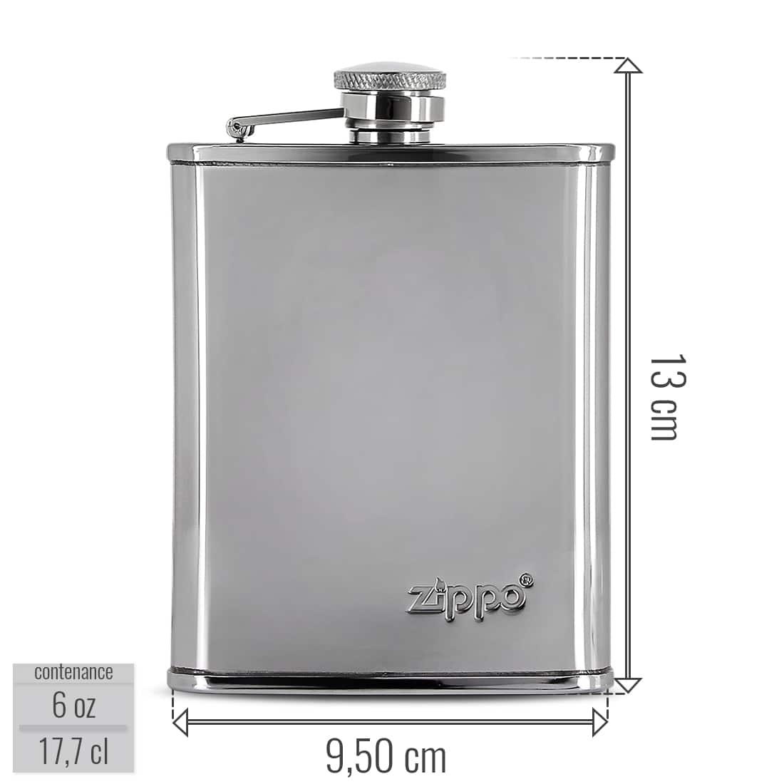 Photo #1 de Flasque Alcool Zippo Chromée