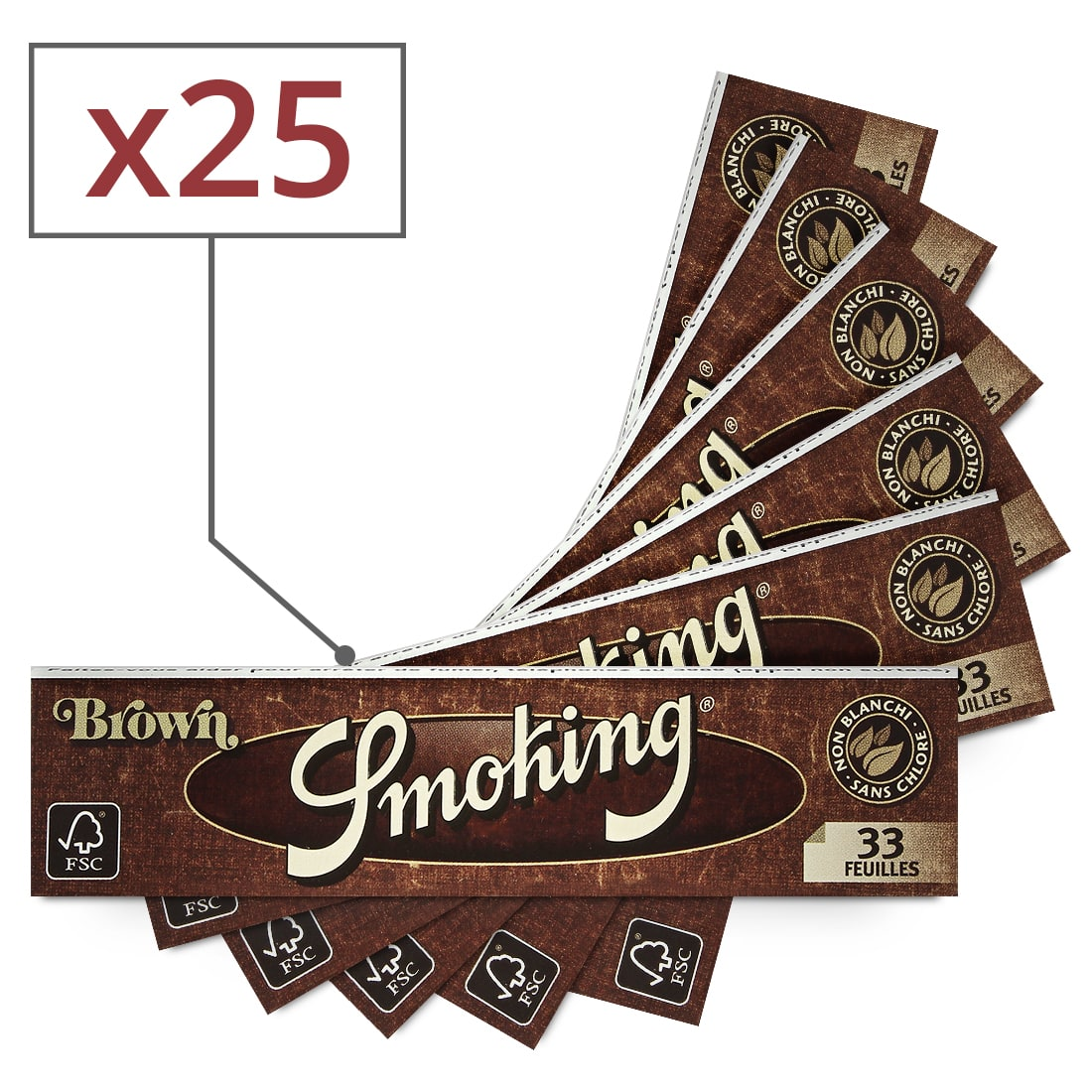 Photo #2 de Pack Smoking Feuilles Slim Brown Filtres Carton