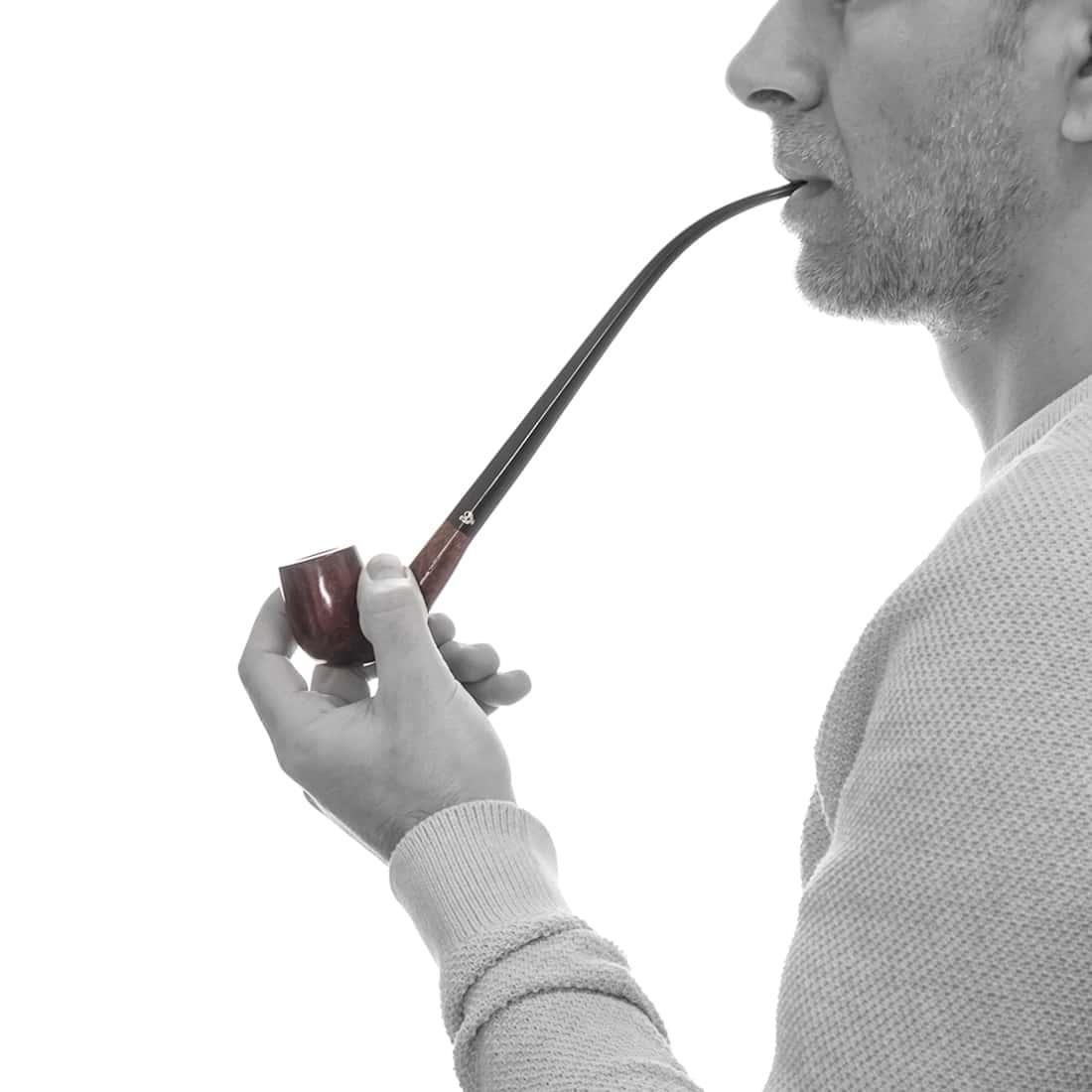Photo #1 de Pipe de Cogolin Courbée Extra Longue Foncée