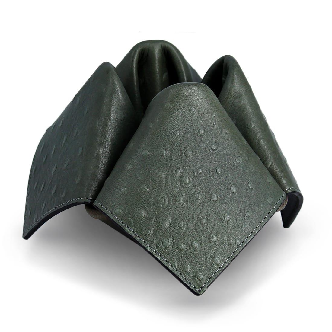 Photo #2 de Porte Pipe Savinelli Origami Cuir Gris Vert