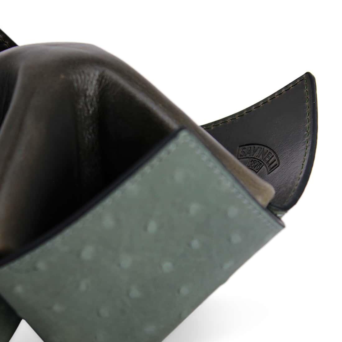 Photo #3 de Porte Pipe Savinelli Origami Cuir Gris Vert