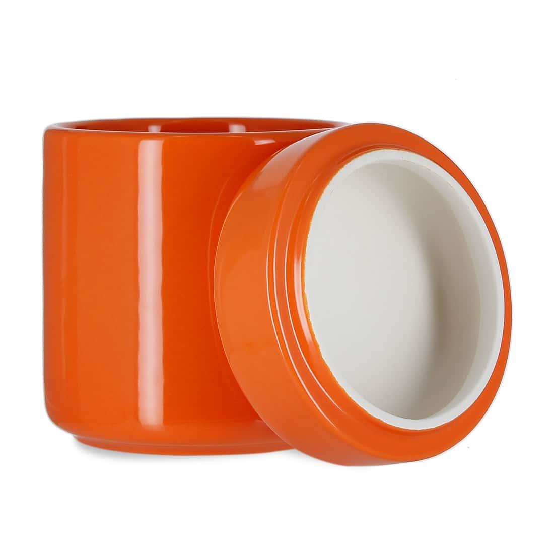 Photo #1 de Pot à tabac et Porte Pipe Céramique Orange