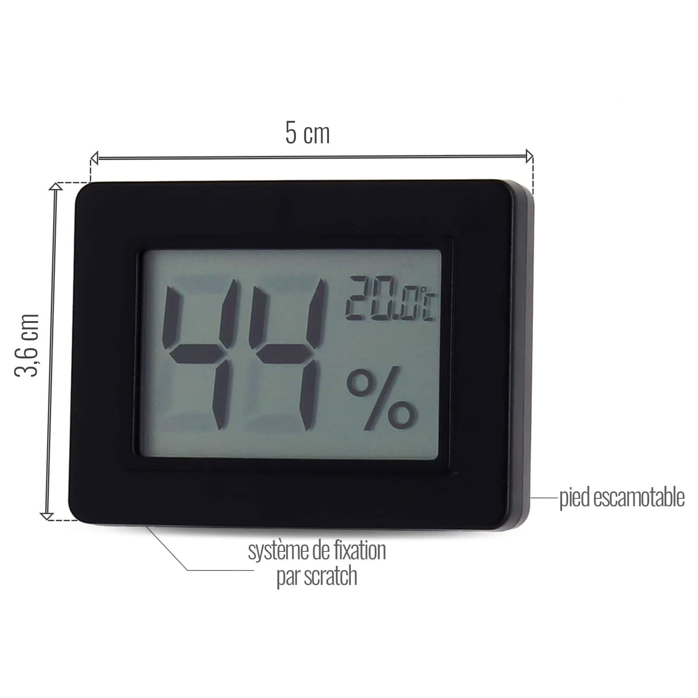 Photo #1 de Thermo hygromètre digital noir avec support