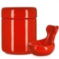 Pot à tabac et Porte Pipe Céramique Rouge
