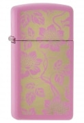 Zippo Slim Pink Floral Background