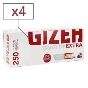 Boite de 250 tubes Gizeh Silver Tip Extra x 4