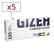 Boite de 100 tubes Gizeh Silver Tip Charbon avec filtre x 5