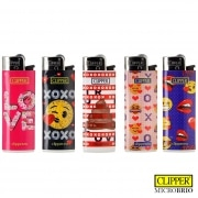 Briquet Clipper Brio Micro Emoji Love x 5