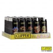 Briquet Clipper Brio Micro Tête de mort x 50