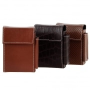 Etui paquet cigarette et briquet simili cuir Marron