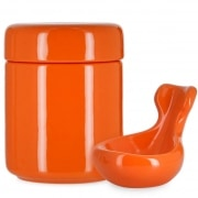 Pot à tabac et Porte Pipe Céramique Orange