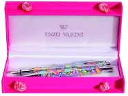 Parure stylo Enzo Varini Fleurie Bleue