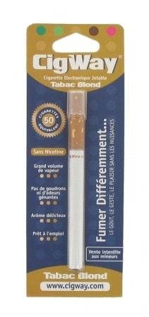 E-cigarette Jetable Cigway Tabac Blond sans Nicotine