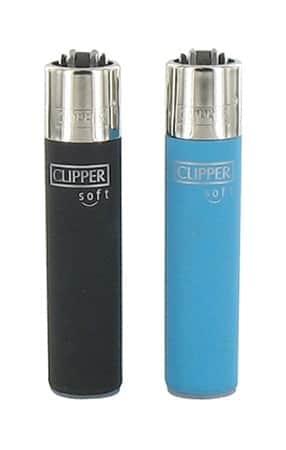 2 briquets à pierre Clipper Color Soft Noir et Bleu