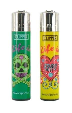 2 briquets à pierre Clipper Life is Very Pop Vert et Jaune