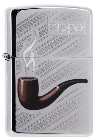 Zippo Pipe rayures chromé