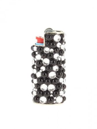 Etui briquet mini Bic Strass et Perle Noire