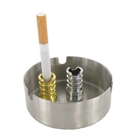 Ensemble 2 Etouffoirs avec Encoche pour Cigarette Chromé et Doré
