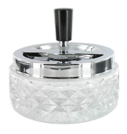 Cendrier poussoir en verre