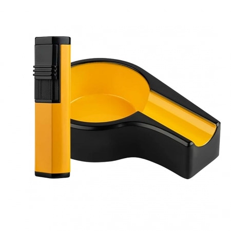 Cendrier & Briquet Cigare Formula Jaune
